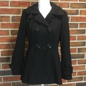 Guess Black Wool Coat Size Petite Small